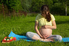 Pregnant girl in spring field at sunset Stock Image