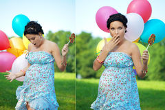 Pregnant girl surprised Royalty Free Stock Photo