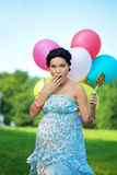 Pregnant girl surprised Stock Images