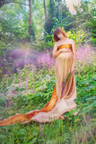 Pregnant girl in the woods Royalty Free Stock Photography