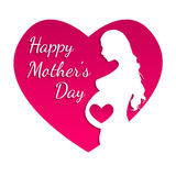 Pregnant Happy mothers day greeting card. Stock Photo