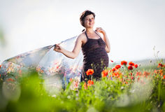 Pregnant happy woman in a flowering poppy field Royalty Free Stock Image