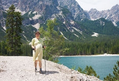Pregnant hiking Stock Images