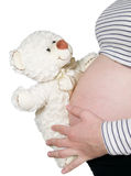 Pregnant hold bear near belly Royalty Free Stock Photos