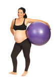 Pregnant holding pilates ball Stock Photography