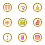 Pregnant icon set, cartoon style. Pregnant icon set. Cartoon set of 9 pregnant vector icons for web isolated on white background Stock Photography
