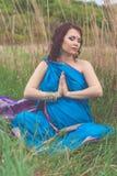 Pregnant indian girl is wearing blue fashion sari Royalty Free Stock Photo