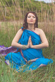 Pregnant indian girl is wearing blue fashion sari Stock Image