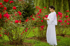 Pregnant lovely woman in summer day Royalty Free Stock Photography