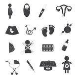 Pregnant and Maternity Icons Set Stock Image