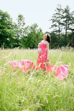 Pregnant on Meadow Stock Images