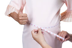Pregnant measuring her waist whit feel good Royalty Free Stock Photography
