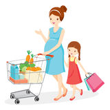 Pregnant Mom And Daughter Shopping Together stock illustration