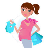 Pregnant mom on shopping for baby boy Stock Photo