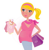 Pregnant mom on shopping for child / baby girl Stock Photo