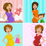 Pregnant mother. Set of pregnant mother illustration vector Royalty Free Stock Image