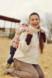 Pregnant mother with baby daughter Royalty Free Stock Photo