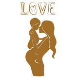 Pregnant mother with baby Lovely design Stock Image
