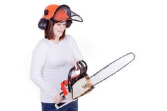 Pregnant Mother with Chainsaw Royalty Free Stock Photography