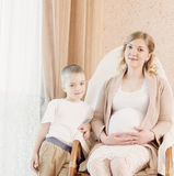 Pregnant mother with child royalty free stock photo