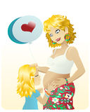 Pregnant mother & daughter. A cute little girl with a balloon giving a kiss to her mother's belly Royalty Free Stock Images