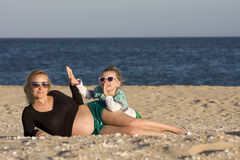 Pregnant mother and daughter Royalty Free Stock Photography