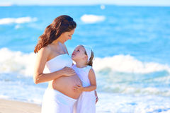 Pregnant mother and daughter on the beach Royalty Free Stock Image