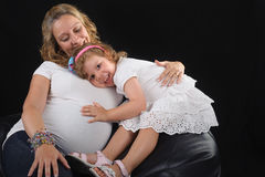 Pregnant mother and daughter together Royalty Free Stock Photography