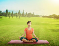 Pregnant mother doing yoga at the green grass Stock Photography