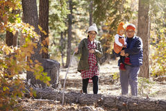 Pregnant mother, father and young daughter hike in a forest Stock Images