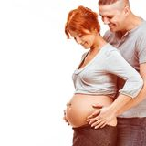 Pregnant mother and happy father Stock Images