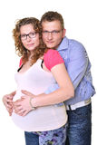 Pregnant mother and happy father. Young attractive couple: pregnant mother and happy father Stock Photo