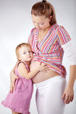 Pregnant mother with her daughter Royalty Free Stock Photo