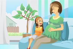 Pregnant mother with her daughter Royalty Free Stock Image