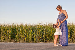 Pregnant mother and her daughter between cornfields Stock Images