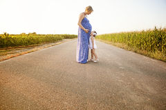 Pregnant mother and her daughter between cornfields Stock Photos