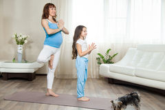Pregnant mother and her kid girl standing in yoga tree pose at h Stock Images