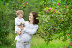 Pregnant mother and her one year old baby daughter Stock Photos
