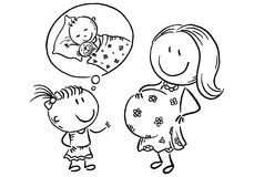 Pregnant mother and little daughter talking about the future baby, outline royalty free illustration