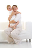 Pregnant mother with son Stock Photo