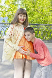 Pregnant mother and son in summer Royalty Free Stock Photo