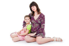 Pregnant mum and daughter Stock Photo