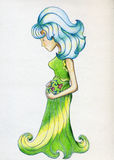 Pregnant nymph. Pregnant fairy tale creature. Drawn with colored pencils Stock Photos