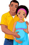Pregnant pair. Happy young couple with pregnant belly Stock Image