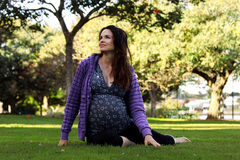 Pregnant in the park royalty free stock image