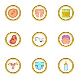 Pregnant period icon set, cartoon style. Pregnant period icon set. Cartoon set of 9 pregnant period vector icons for web isolated on white background Stock Images