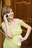 Pregnant phone talking Royalty Free Stock Image