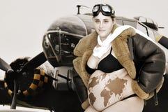 Pregnant pilot stock image