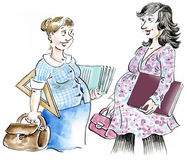 Pregnant professional women meeting. Comic illustration Royalty Free Stock Images