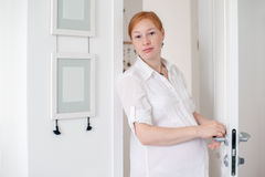 The pregnant red-haired woman Stock Photo